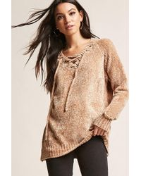 Forever 21 - Chenille Lace-up Jumper - Lyst