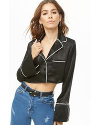 Forever 21 - Sheeny Cropped Shirt - Lyst