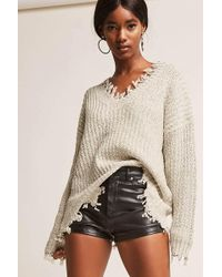 Forever 21 - Frayed Marled Knit Sweater - Lyst