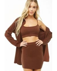 Forever 21 - Ribbed Cami Top & Mini Skirt Three-piece Set - Lyst