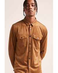 Forever 21 - Faux Suede Button-down Shirt - Lyst