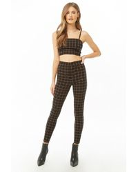Forever 21 - Grid Print Crop Top & Trousers Set - Lyst