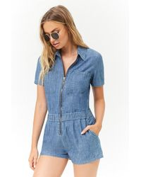 Forever 21 - Chambray Zip-front Playsuit - Lyst