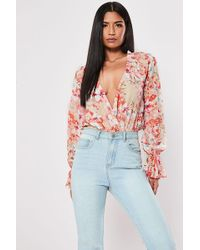 Missguided - Plunging Floral Bodysuit At - Lyst
