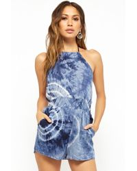 f03a0041bfb2 Lyst - Forever 21 Tie-Dye Yoga Jumpsuit in Black