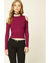 Forever 21 - Ribbed Open-shoulder Top - Lyst