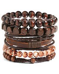 Forever 21 - Men Vallour Bead & Leather Bracelet Set - Lyst