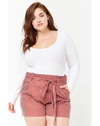 Forever 21 - Women's Plus Size Pinstripe Paperbag Shorts - Lyst
