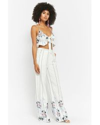 Forever 21 - Floral Striped Crop Top & High-rise Pants Set - Lyst