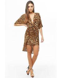 118dffadb Forever 21 - Twist-front Leopard Print Dress , Taupe/black - Lyst