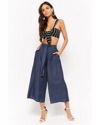 Forever 21 - Chambray Tie-front Culottes - Lyst