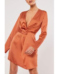 Missguided Twist-front Satin Dress At , Rust