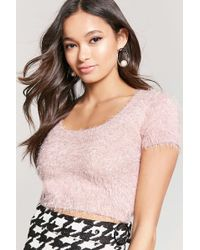 Forever 21 - Fuzzy Knit Cropped Top - Lyst