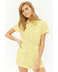 Forever 21 - Chambray Button-front Romper - Lyst