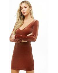 Forever 21 - Women's Velvet V-neck Mini Dress - Lyst