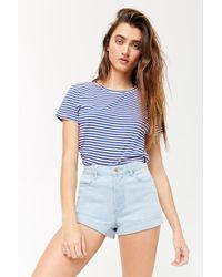 3066d5546 Forever 21 - Women's High-waist Cuffed Denim Shorts - Lyst