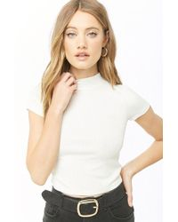 4b94922314 Lyst - Forever 21 Ribbed Knit Mock Neck Top in White