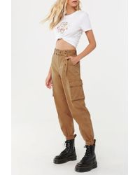 Forever 21 Women's Belted Cargo Pants - Natural