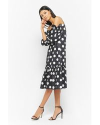 Forever 21 - Polka Dot Open-shoulder Dress - Lyst