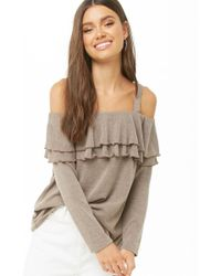 6ae17fcee3c48 Forever 21 - Knit Tiered-flounce Open-shoulder Top - Lyst