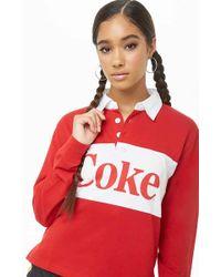 e7011bfbe70ac Lyst - Forever 21 Women s Cherry Coke Stripe Crop Top in White