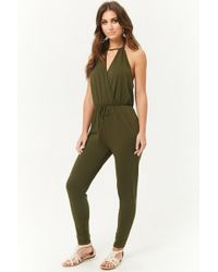 Forever 21 - French Terry Surplice Cutout Halter Jumpsuit - Lyst