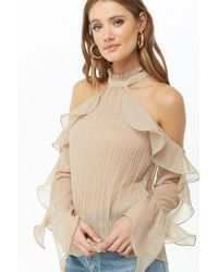 Forever 21 - Sheer Metallic Pleated Open-shoulder Top - Lyst