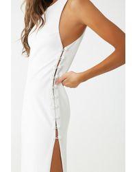e04014212e6 Lyst - Forever 21 Crochet Halter Maxi Dress in White