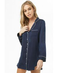 Forever 21 - Piped-trim Button-front Nightdress - Lyst