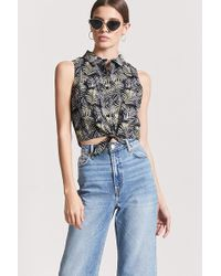 Forever 21 - Palm Leaf Print Tie-front Shirt - Lyst