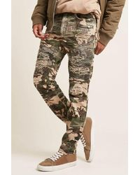 Forever 21 - Jordan Craig Distressed Camo Moto Jeans - Lyst