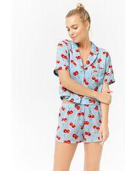 Forever 21 - Satin Cherry Print Pyjama Set - Lyst