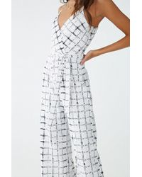 Forever 21 - Abstract Plaid Print Jumpsuit , Ivory/black - Lyst