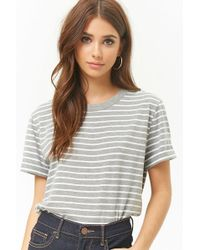 Forever 21 - Striped Boxy Cuffed Tee - Lyst