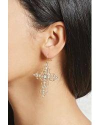 Forever 21 - Rhinestone Cross Drop Earrings - Lyst