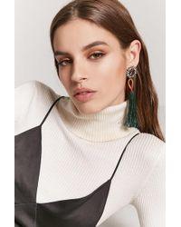 Forever 21 - Faux Gemstone Tassel Drop Earrings - Lyst