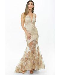 Forever 21 - Floral Sheer-hem Mermaid Dress - Lyst