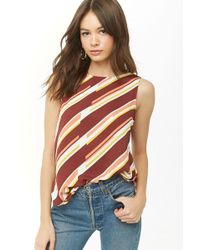 Forever 21 - Abstract Striped Chiffon Top - Lyst