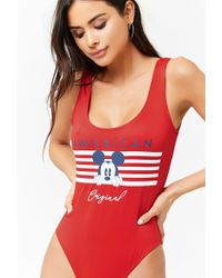 Forever 21 - Mickey Mouse Graphic One-piece Swimsuit - Lyst