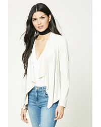 Forever 21 - Faux Suede Drape-front Jacket - Lyst