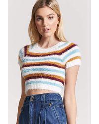 Forever 21 - Fuzzy Knit Stripe Sweater - Lyst