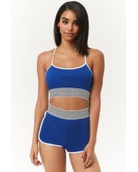 Forever 21 - Contrast-trim Crop Cami & Dolphin Shorts Set - Lyst