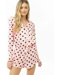 Forever 21 - Dotted Satin Pyjama Romper - Lyst