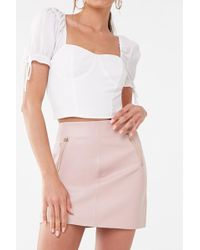 Forever 21 - Faux Leather Mini Skirt , Blush - Lyst
