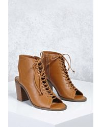 Forever 21 - Faux Leather Cutout Ankle Boots - Lyst