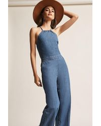 Forever 21 | Denim High-neck Jumpsuit | Lyst