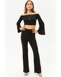 27cb7575e5b Forever 21 - Bell-sleeve Crop Top   Flare Pants Set - Lyst