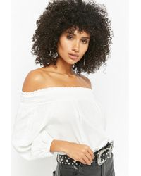 8e18d54448c41 Lyst - Forever 21 Smocked Off-the-shoulder Crop Top in White