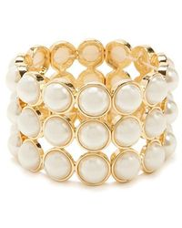 Forever 21 - Faux Pearl Stretch Bracelet - Lyst