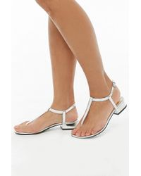 Forever 21 Faux Leather Thong Sandals , Silver